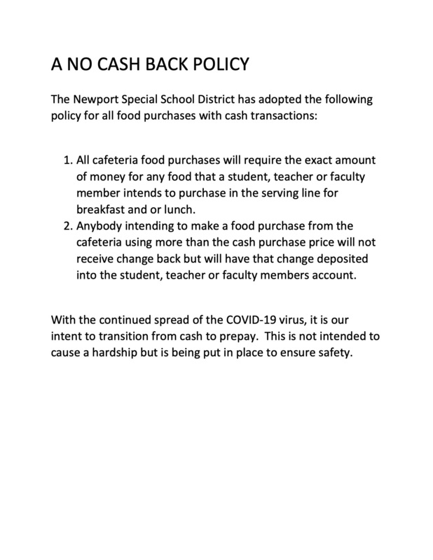 Newport School District Cafeteria No Cash Back Policy